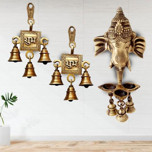 Remarkable Ganesha Wall Hanging Deepak with Bells N Shubh Labh Hanging Bells