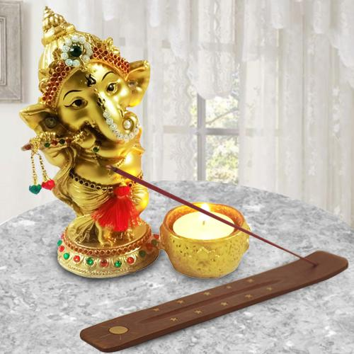 Marvelous Ganesha Idol with Agarbatti Stand