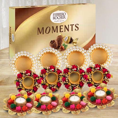 Remarkable Diya Set with Ferrero Rocher