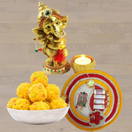 Exclusive Ganesha Idol with Boondi Ladoo N Thali<br>