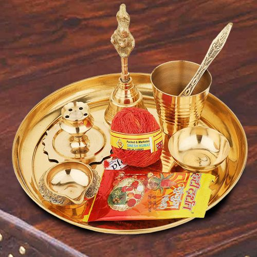 Marvelous Puja Samagri in a Thali