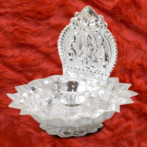Wonderful Gift of Silver Plated Goddess Laxmi Diya Puja Thali for Spitritual Mothers