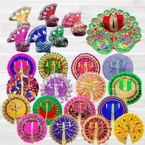 Marvelous 6 Pcs Ladoo Gopal Dress Set with 6 Pcs Pagdi