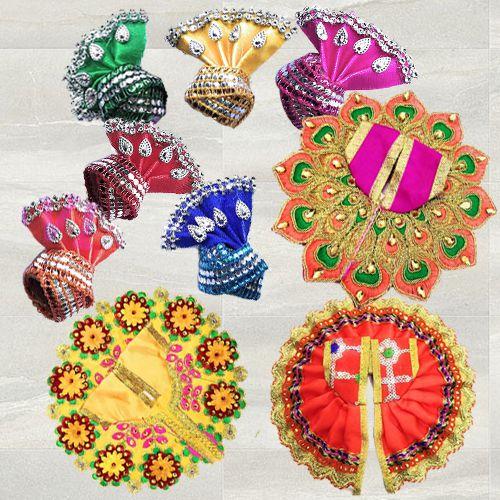 Remarkable 3 Pcs Poshak Set with 6 Pcs Pagdi for Laddu Gopal<br><br>