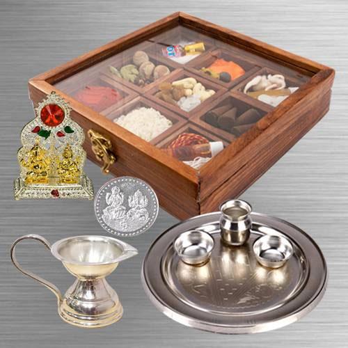 Premium Reusable Wooden Box of Puja Essentials for Religious Mummy