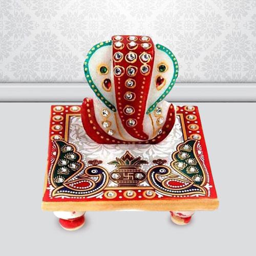 Divine Marble Ganesh Chowki in Peacock Pattern