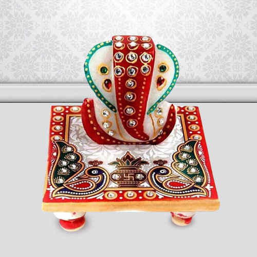Exclusive Marble Ganesh Chowki with Peacock Design