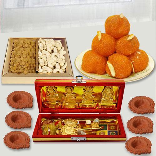 Pious Dhan Laxmi Kuber Yantra with Dry Fruits n Chocolates, Free Diya