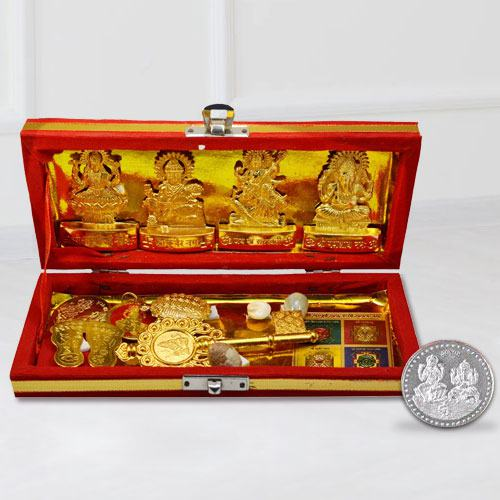 Pious Shri Dhan Laxmi N Kuber Bhandari Yantra with Free Coin