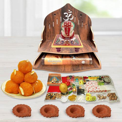 Exclusive Wooden Temple Gift Combo for Pooja