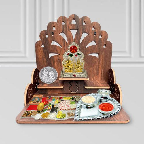 Auspicious Combo of Wooden Temple N Pooja Items