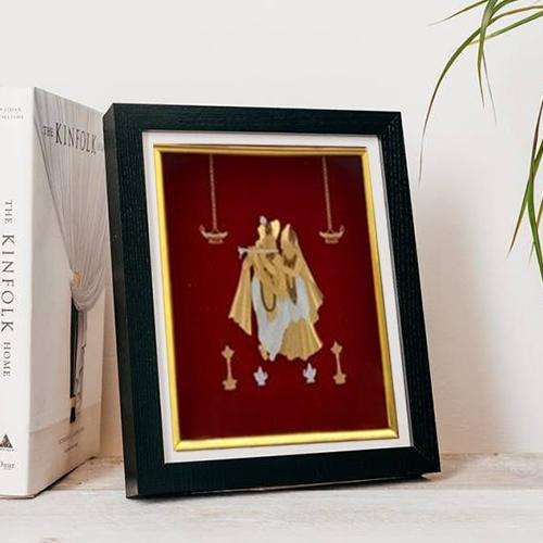Traditional Gold Plated Photo Frame of Radha Krishna