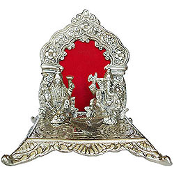 Online Silver Plated Laxmi Ganesh in Mandap and Diya