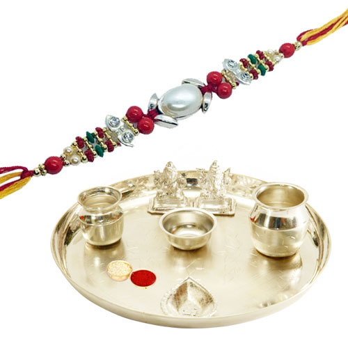 Auspicious Silver Plated Pooja Thali with Blessings