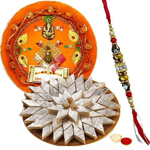 Amazing Gift of Delicious Kaju Katli Sweet from <font color=#FF0000>Haldiram</font>s with Special Pooja Thali