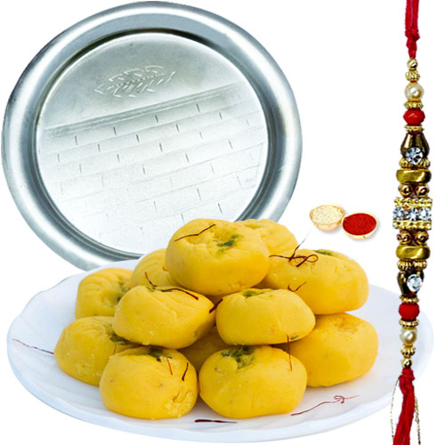 Irresistible Gift of Mouth Watering Haldirams Pedas with Sprinkled Kesar and Delicate Pooja Thali