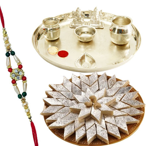 Remarkable <font color=#FF0000>Haldiram</font> Katli, Rakhi and Pooja Thali for Grand Celebration