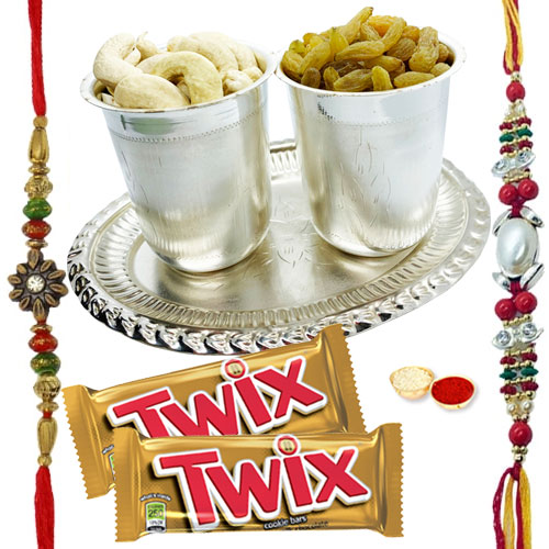 Beautifying Parker Pen and 2 Twix Chocolates with 7-8 Inch Pooja Thali