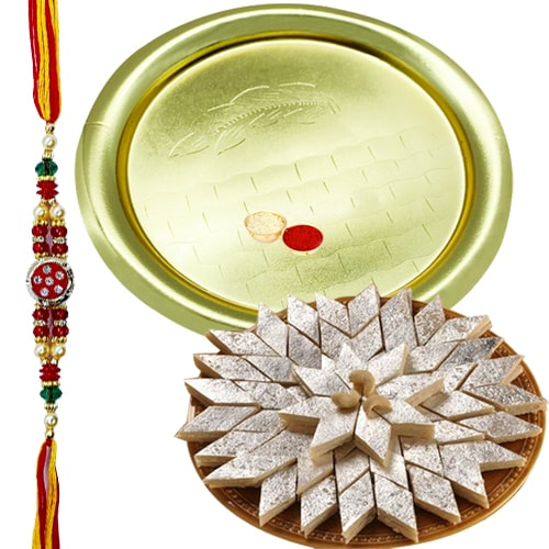 Appealing Gift of Delicate Kaju Katli of 100 Gms from <font color=#FF0000>Haldiram</font>s and Precious Golden Plated German Silver Thali