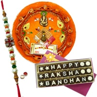 Send Designer Thali With Homemade 27 Pcs Rakshabandhan Chocolates with 1 free Rakhi and Roli Tilak Chawal. to Kerala