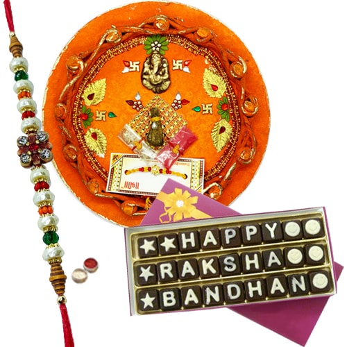Magnificent Gift of Indulgent Rakshabandhan Chocolates with Crafty Thali