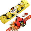 Send A 5 pcs Ferrero Rocher Chocolate Pack with Angry Bird Rakhi and Roli Tilak Chawal to Kerala