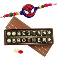 Send Best Brother Chocolate Pack (18 pcs) with Spiderman Rakhi and Roli Tilak Chawal to Kerala