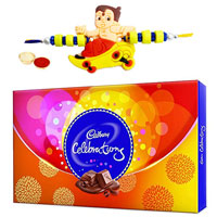 Send Celebration Chocolate Pack with Hanuman Rakhi and Roli Tilak Chawal to Kerala