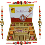 Delicious Pack of 140 gms of Assorted Homemade Chocolates with 4 Rakhis, Roli Tilak Chawal