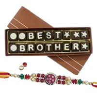 Send Best Brother Chocolate Pack(18pcs) with Rakhi and Roli Tilak Chawal to Kerala