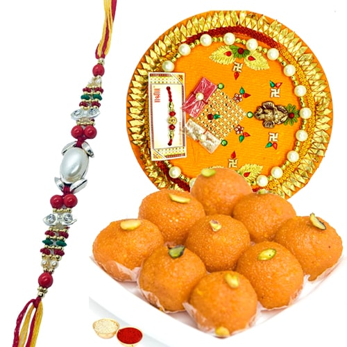 Tasty <font color=#FF0000>Haldiram</font> Laddoo and Rakhi Thali