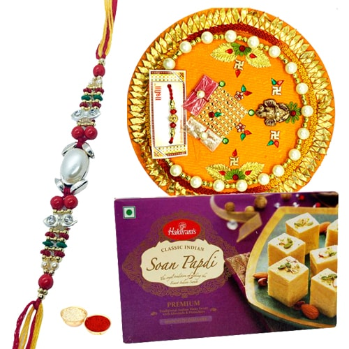 Soan Papri from Haldiram and Rakhi Thali along Rakhi, Roli Tilak and Chawal
