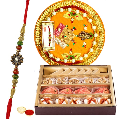 Delicious Assorted Haldiram and Decorative Rakhi Thali