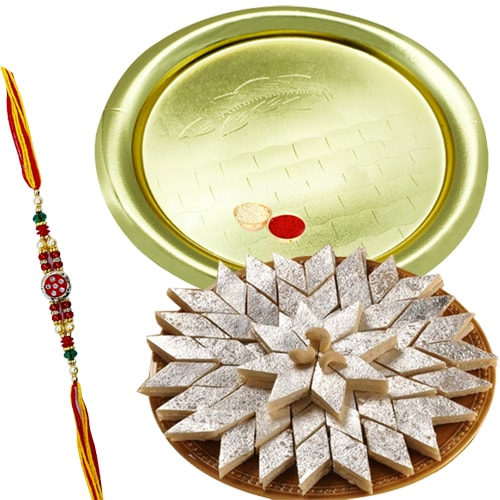 Amazing Kaju Katli from <font color=#FF0000>Haldiram</font> and Gold Plated Puja Thali with Rakhi Set