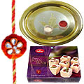 Send Soan Papri from Haldiram and Gold Plated Puja Thali along Rakhi, Roli, Tilak and Chawal to Kerala