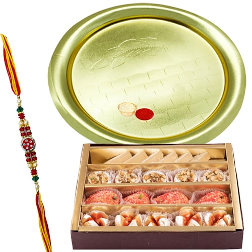 Amazing Gift of Sweets with a Rakhi Set<br>