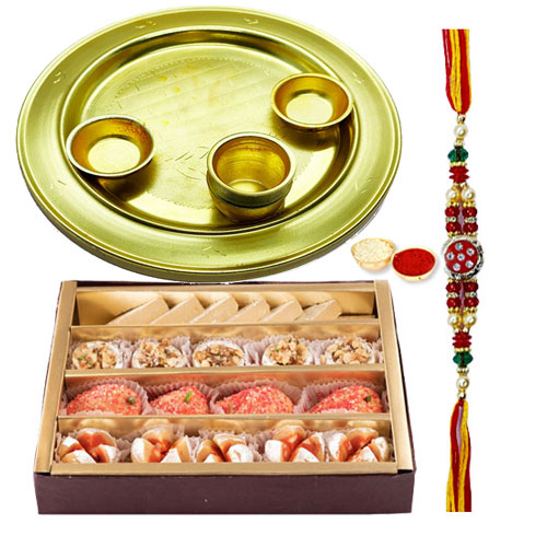 Haldirams Assorted Sweets N Silver Plated Rakhi Thali