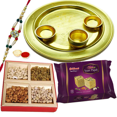 Classy Silver Plated Thali with Sweets and Dry Fruits
