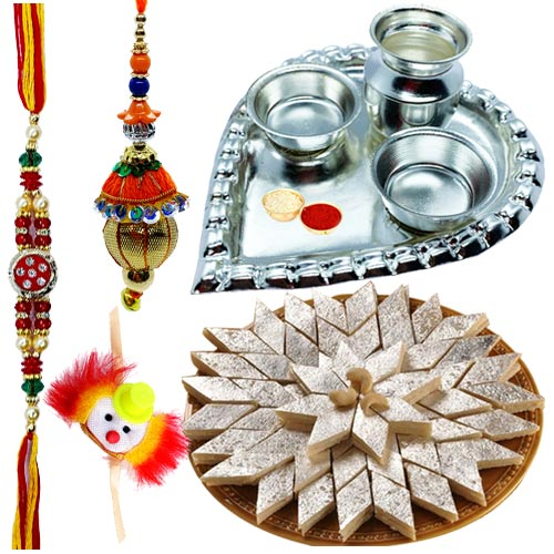 Trendy Silver Plated Thali with Kaju Katli and Rakhi