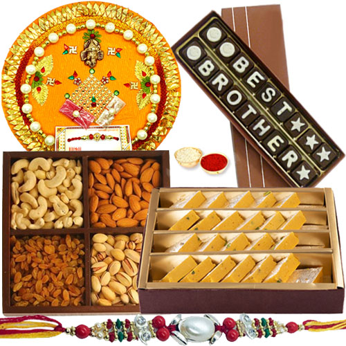 Amazing Hamper of Holy Shree Thali,Homemade Best Brother Chocolate, Mixed Dry Fruits and Badam Barfi from <font color=#FF0000>Haldiram</font>s