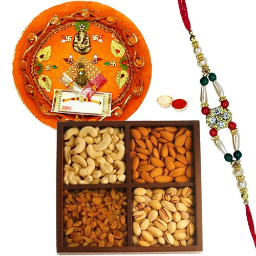 Rocking Rakhi, Pooja Thali with Dry Fruits for Auspicious Occasion