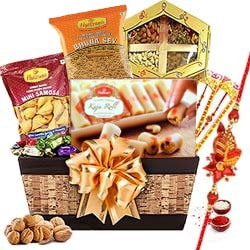 Smashing Rakhi Treat Basket of Love and Happiness