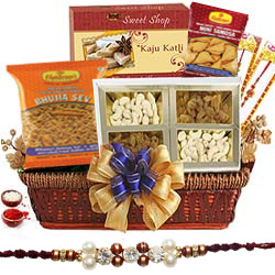 Yummy Rakhi Sweet and Salty Basket