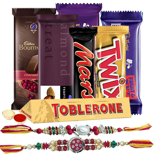 Tasty Chocolate Gift Hamper with Attractive Floral Rakhi