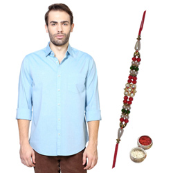 Clean-cut Peter England Shirt and Rakhi Gift Hamper