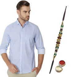 Pleasing Peter England Shirt and Rakhi Hamper