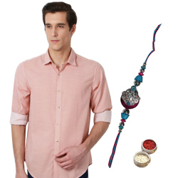 Tangerine Printed Peter England Shirt and Rakhi Combo