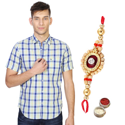 Elite Check Shirt by Peter England and Rakhi Gift Set