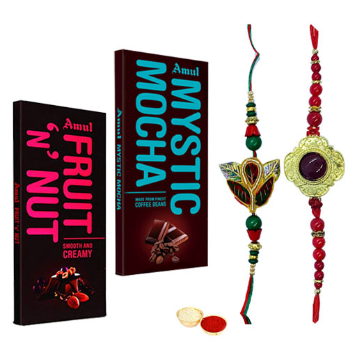 Fabulous Dual Rakhi Set with Amul Chocolates