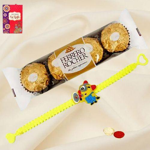 Fabulous Minion Rakhi with Ferrero Rocher Chocolates